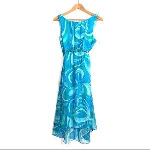 RABBIT DESIGNS 10 Medium Blue Print Midi Dress